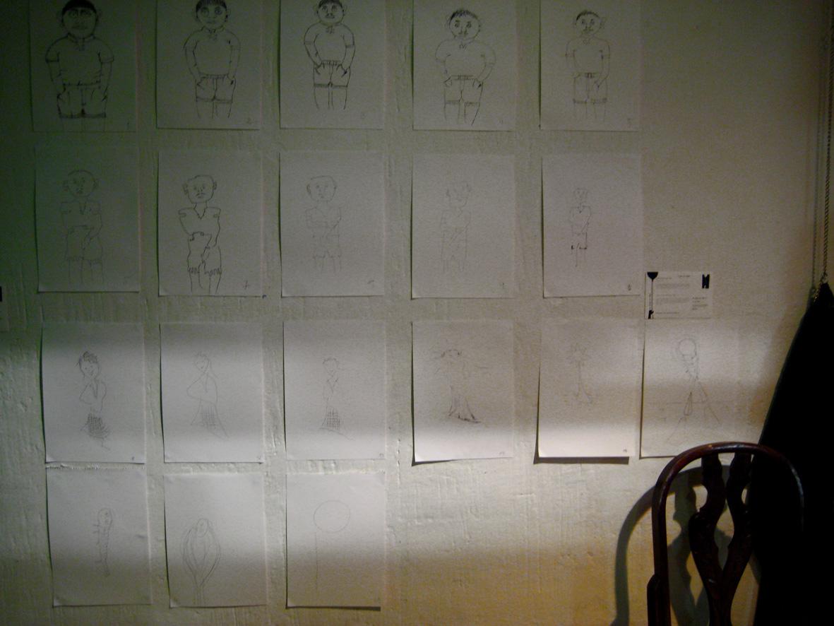 """O artista desenhou à mão uma primeira figura e desafiou o público a """"fotocopiá-la"""" também à mão, aportando cada pessoa a sua interpretação pessoal da imagem original."""